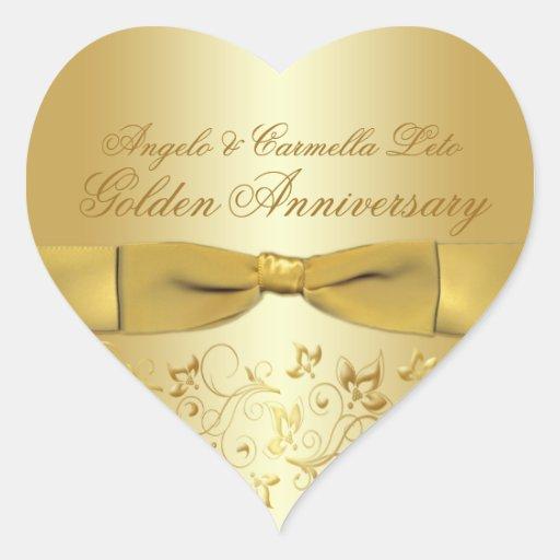 Autocollant en forme de coeur d'anniversaire d'or