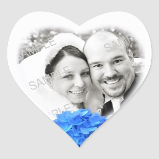 Autocollant en forme de coeur de mariage de photo