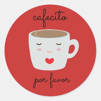 "Autocollant espagnol de ""Cafecito"" avec la tasse"