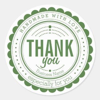 Autocollant fait main blanc vert élégant de Merci