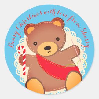 Autocollant fait main de couture de Noël d'ours de