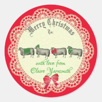 Autocollant fait main de Noël de crochet de tricot