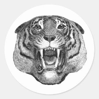 Autocollant féroce de visage de tigre