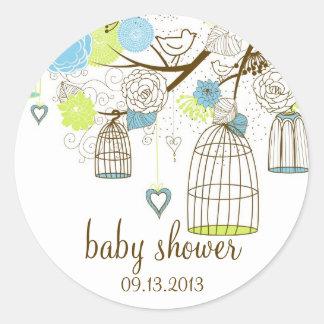 Autocollant floral bleu et vert de baby shower de