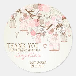 Autocollant floral de baby shower de cages à