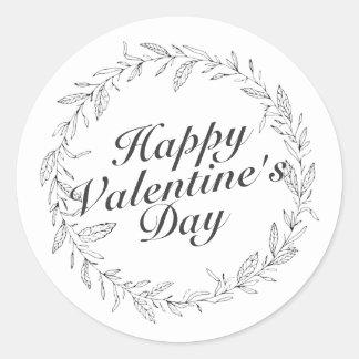 Autocollant floral de guirlande de Saint-Valentin