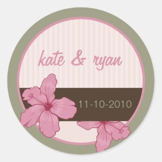 Autocollant floral de mariage de ketmie rose