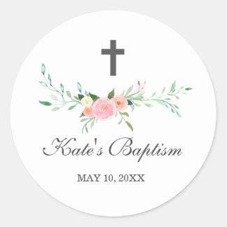 Autocollant floral doux de baptême