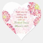 Autocollant floral hérissé de Merci de coeur de