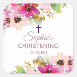 Autocollant floral pourpre et rose de baptême de