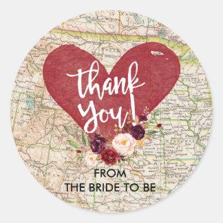 Autocollant floral rouge vintage de Merci de carte