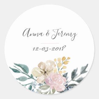 Autocollant floral vintage de mariage