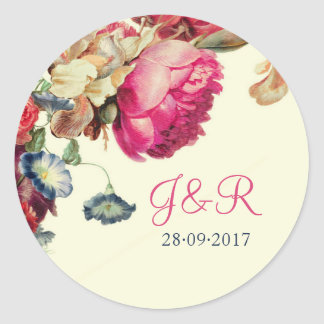 Autocollant floral vintage rose de mariage de