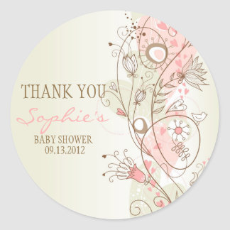 Autocollant floral vintage rose de Merci de baby
