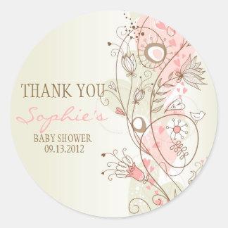 Autocollant floral vintage rose de Merci de baby s