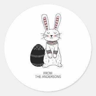 Autocollant folklorique de lapin de Pâques