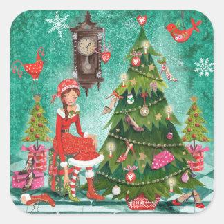Autocollant girly de l'arbre | de vacances de Noël