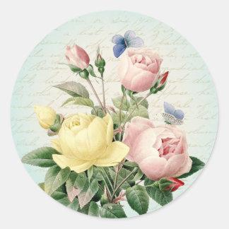 Autocollant girly de roses et féminin floral