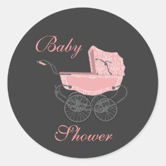 Autocollant gris et rose élégant de baby shower