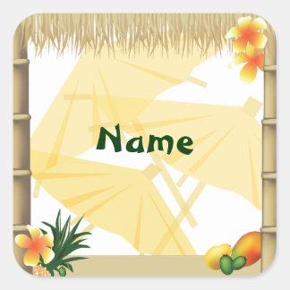 Autocollant hawaïen de nom de partie de Luau