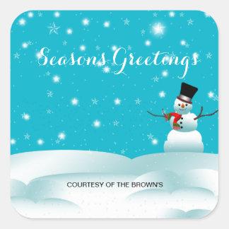 Autocollant heureux de carré d'hiver de Noël de