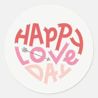 Autocollant heureux de jour d'amour - ivoire