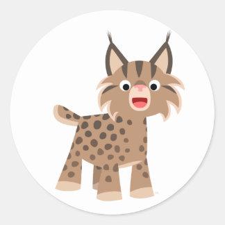 Autocollant heureux de Lynx de bande dessinée de
