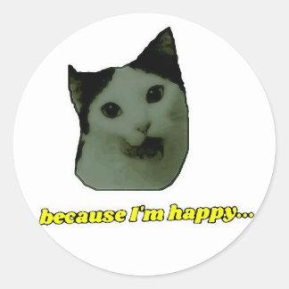 Autocollant heureux de visage de chat