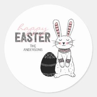 Autocollant heureux folklorique de lapin de Pâques
