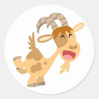 Autocollant heureux mignon de chèvre de bande dess