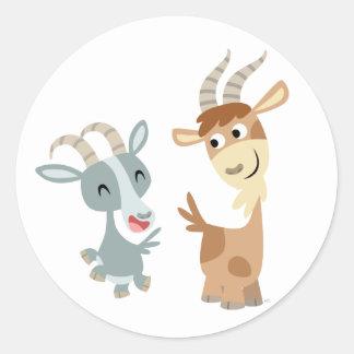 Autocollant heureux mignon de deux chèvres de band