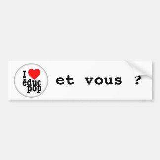 Autocollant I love educ pop / pour voiture Autocollant Pour Voiture