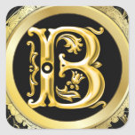 Autocollant initial de B en or