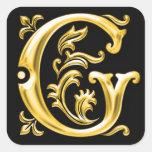 Autocollant initial de majuscule de G en or