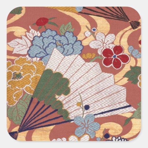 Autocollant japonais traditionnel de carré de