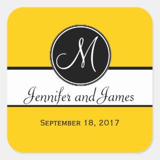 Autocollant jaune blanc noir de faveur de mariage