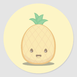 Autocollant jaune mignon d'ananas