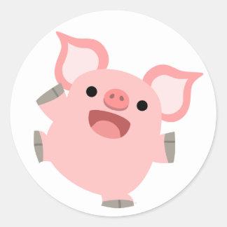 Autocollant joyeux de porc de bande dessinée