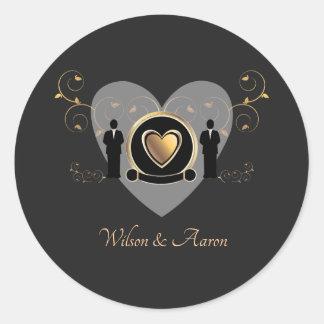 Autocollant masculin du mariage | de coeur d'or