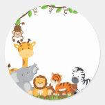 Autocollant mignon d'animal de bébé de jungle