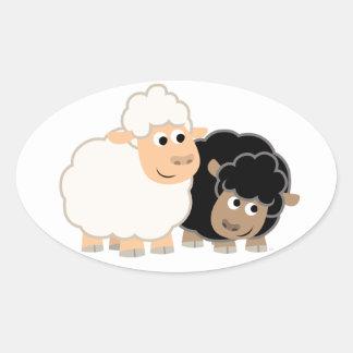 Autocollant mignon de deux moutons de bande dessin