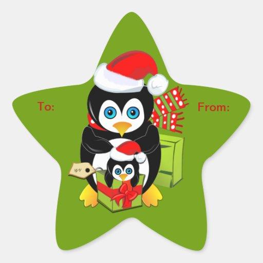 Autocollant mignon de Noël avec des pingouins