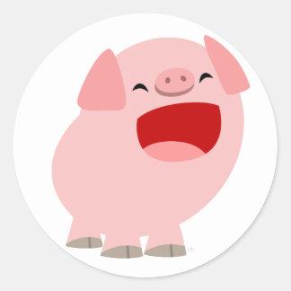 Autocollant mignon de porc de chant de bande dessi