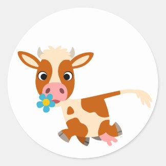 Autocollant mignon de vache à trot de bande dessin