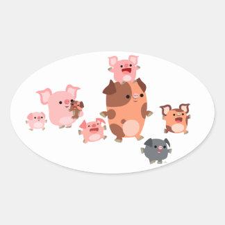 Autocollant mignon d'ovale de famille de porc de