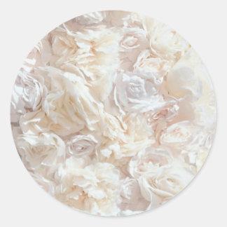 Autocollant mol blanc de tissu de pétale de rose