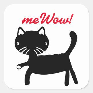 Autocollant noir et blanc du meWOW du chat bon du