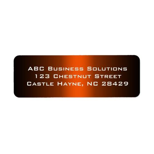 Autocollant noir et orange d'adresse de retour