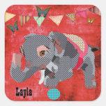 Autocollant nommé rouge d'éléphant chanceux de Lil