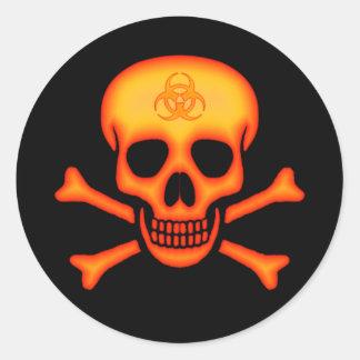 Autocollant orange de crâne de Biohazard